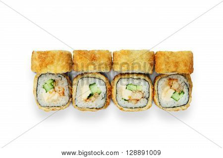 Japanese food restaurant delivery - tempura sushi rolls california with eel, avocado and cheese isolated at white background. Sushi rolls top view, flat lay.