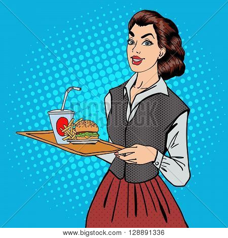 Waitress with Fast Food. Woman Holding a Tray with Burger and Fries Pop Art Vector illustration