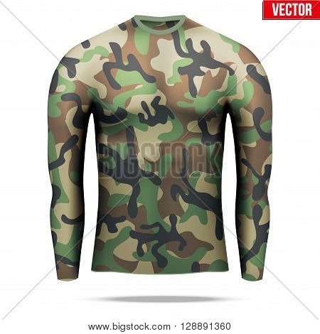 Base layer underwear compression shirt with long sleeve of thermal fabric in woodland camouflage style. Sample typical technical illustration.  Vector Illustration isolated on white background