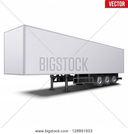 Blank parked van white semi trailer. Perspective side view. Vector Illustration Isolated on white background