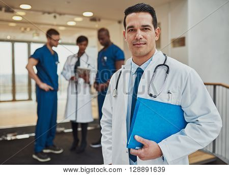 Thoughtful Young Hispanic Doctor In A Hospital