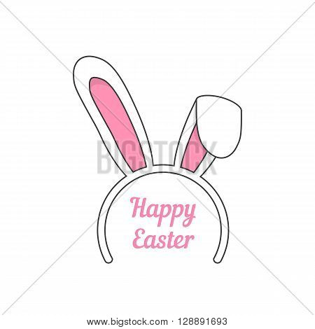 mask from outline rabbit ears. concept of marketing ploy, maschera, celebrate, seasonal, masquerade, catholic feast. isolated on white background. flat style modern logo design vector illustration