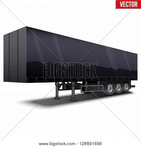 Blank parked black semi trailer with canvas cover. Perspective side view. Vector Illustration Isolated on white background