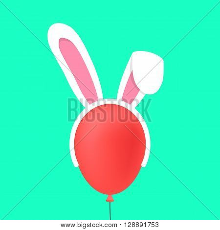rabbit ears mask on red baloon. concept of marketing ploy, maschera, celebrate, seasonal, masquerade, catholic feast. isolated on green background. flat style modern logo design vector illustration