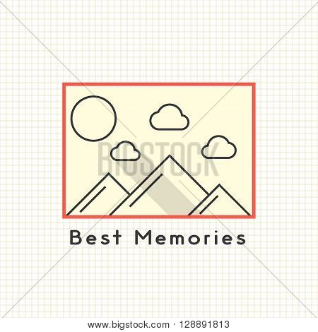 best memories photoframe on the notebook sheet. concept of family photoarchiv, memorial dates, photoalbum. isolated on stylish background. flat style trendy modern logo design vector illustration