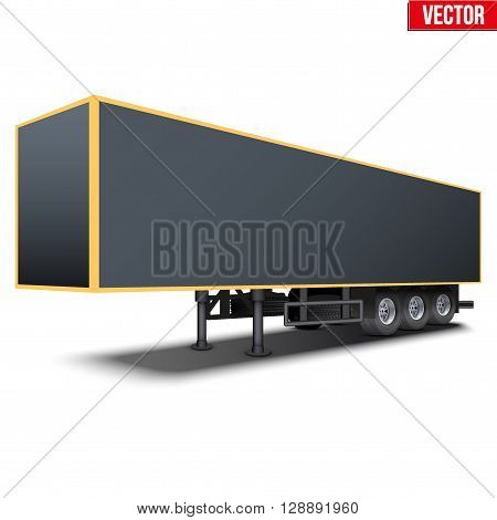 Blank parked van black semi trailer. Perspective side view. Vector Illustration Isolated on white background