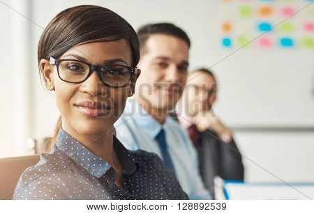 Smiling Woman Seated With Men In Meeting