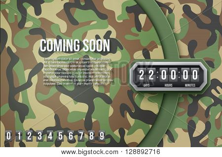 Creative Military Woodland Camouflage Background Coming Soon and countdown timer with digit samples. Vector Illustration.