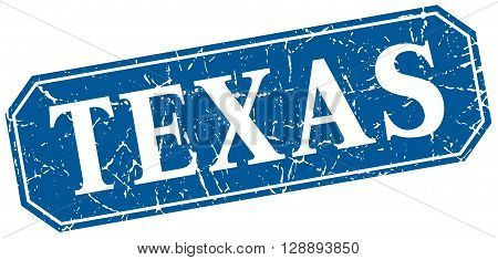 Texas blue square grunge retro style sign
