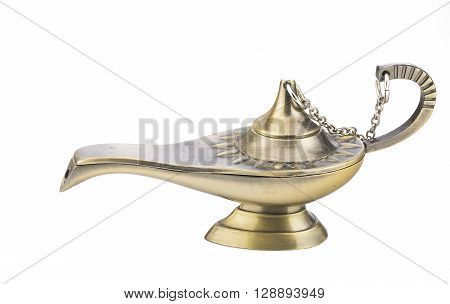Old magic lamp isolated on white background