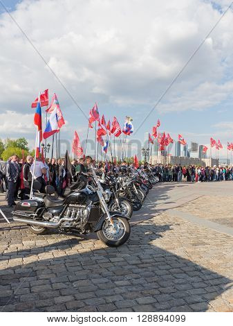 Moscow - May 6 2016: Bikers in the patriotic action under the flags of Russia and the military brotherhood in Victory Park May 6 2016 Moscow Russia