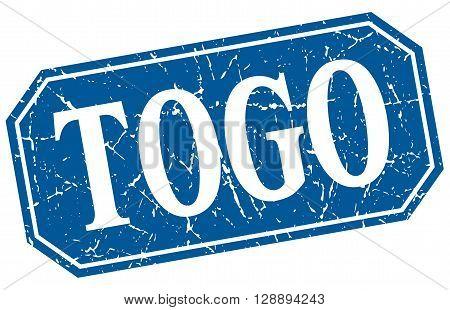 Togo blue square grunge retro style sign