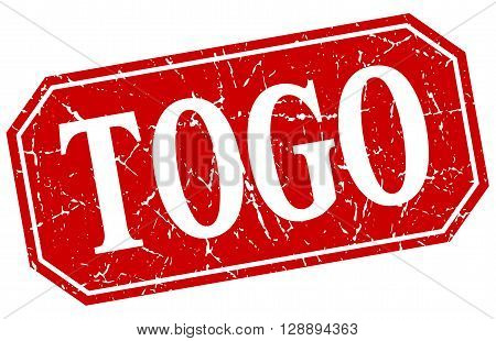 Togo red square grunge retro style sign