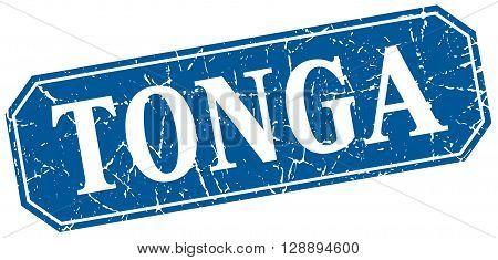 Tonga blue square grunge retro style sign