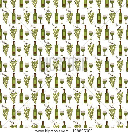 Seamless pattern with wine and grapes. Vector background. For menus, brochures and souvenir production, wallpaper, surface textures, scrapbooking, pattern fills, fabric prints.