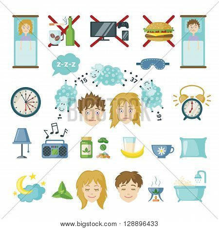 Set of sleep and insomnia icons in flat style. Isolated objects on white background. Symbols  for infographics or web use. Vector insomnia concept.