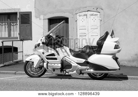 La Petite-Pierre, Alsace, France - May 7, 2016: Honda Gold Wing parked on the side of the street in the city of La Petite-Pierre.