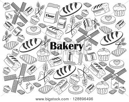 Bakery design colorless set vector illustration. Coloring book. Black and white line art