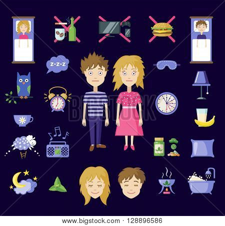 Set of sleep and insomnia icons in flat style. Isolated objects. Symbols  for infographics or web use. Vector insomnia concept.