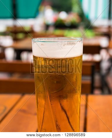 beer mugs close-up on wooden table, close, close-up,