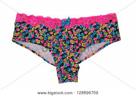 Women colored panties with a floral pattern. Isolate on white.