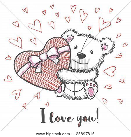 Love card with hand drawn cute bear holding heart. I  love you. Vector illustration