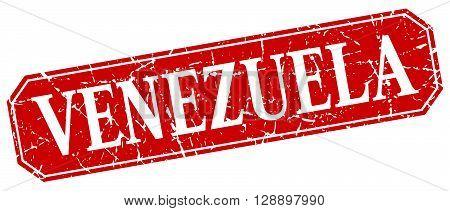 Venezuela red square grunge retro style sign