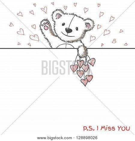 Romantic banner with hand drawn cute bear holding hearts. I  miss you. Vector illustration