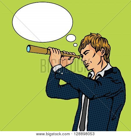 Man and telescope cartoon pop art vector illustration. Human comic book vintage retro style.