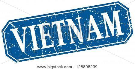 Vietnam blue square grunge retro style sign