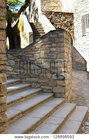A stone staircase to the building labyrinth