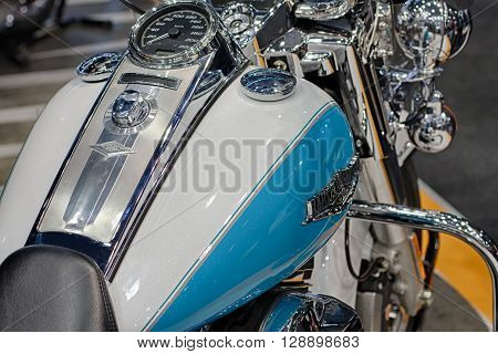 BRNO CZECH REPUBLIC-MARCH 42016: Close up fuel tank of motorcycle Harley Davidson Touring Road King on International Fair for Motorcycles on March 42016 in Brno in Czech Republic