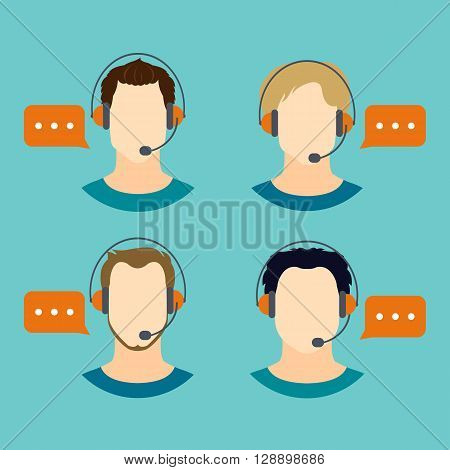 Male call center avatars with headset and speech bubbles.  Client services and communication. Call center avatar icons. Vector illustration