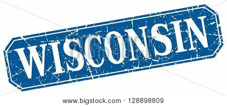 Wisconsin blue square grunge retro style sign