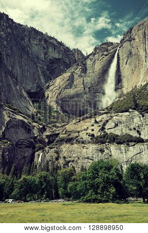 Waterfalls in Yosemite National Park in California