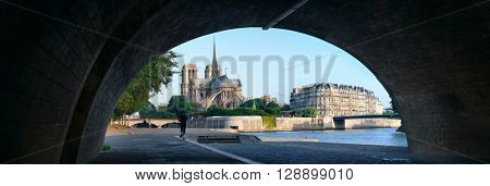 Paris River Seine with Notre-Dame cathedral panorama in France.