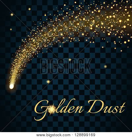 Golden sparkling falling star. Gold dust trail. Cosmic glittering wave in black background. Abstract Design template. Lights glitter sparkles. Fashion stylish retro style. Stock Vector illustration.