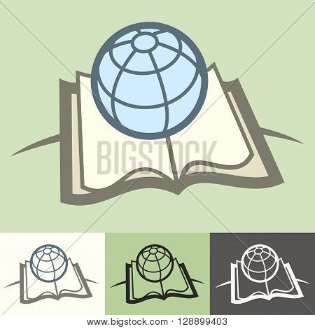 Globe on book science concept vector illustration