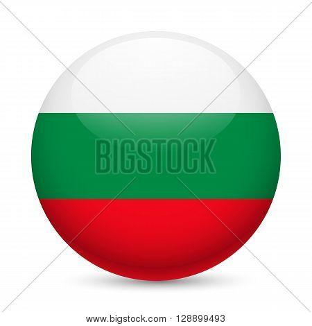 Flag of Bulgaria as round glossy icon. Button with Bulgarian flag