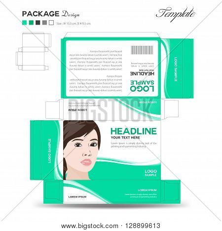 Supplements and Cosmetic box design Package design template box outline flyer design vector illustration