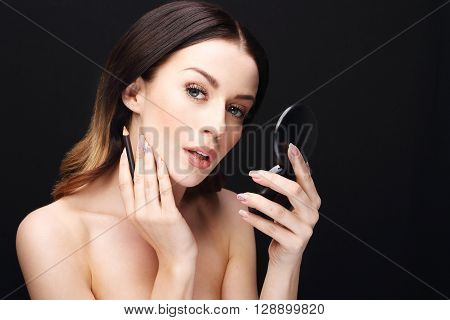 Lip makeup, Make up artist Woman performs makeup