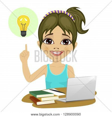 Cute teenage girl doing her homework with laptop and books on desk pointing finger to light bulb having an idea