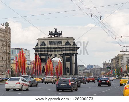 Moscow - May 6 2016: Arc de Triomphe on Kutuzov Avenue is decorated with flags in the May Day celebrations on Poklonnaya Hill May 6 2016 Moscow Russia