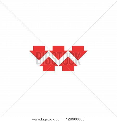 Five red converging arrows logo mockup converge arrow merge form shape letter M marketing concept graphic design emblem