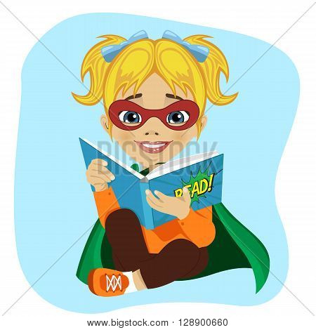little girl dressed as a superhero reading a comic book on white background