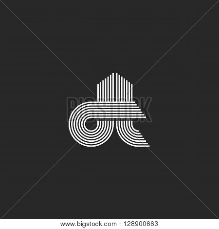 Monogram Couple Letters Dt Logo, Hipster Wedding Invitation Thin Line Emblem, Modern Initials Busine