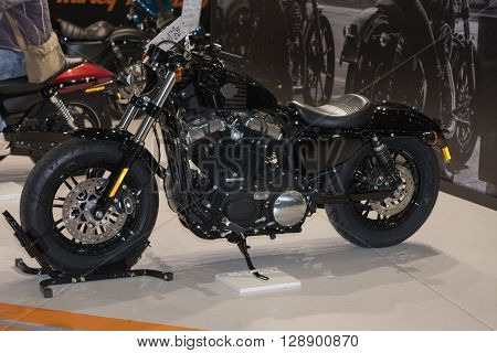 BRNO, CZECH REPUBLIC-MARCH 4, 2016: Motorcycle Harley Davidson Sportster Forty- Eight at International Fair for Motorcycles on March 4,2016 in Brno in Czech Republic.