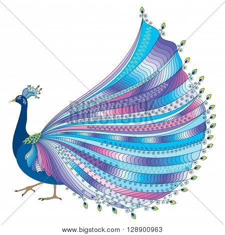Vector illustration of stylized abstract peacock with luxurious tail on white background