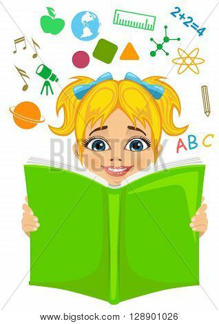 Girl reading a book with education related icons flying out. Imagination concept on white background