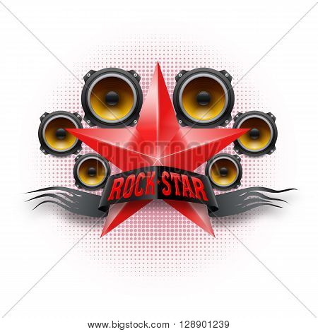 Rock Star banner in red color with acoustic speakers